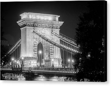 Chain Bridge Tower Night Bw Canvas Print