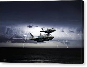 Canvas Print featuring the digital art Chain Lightning by Peter Chilelli