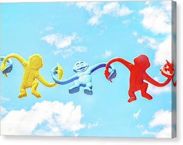 Chain Of Monkeys Canvas Print by Duminda Koswatta