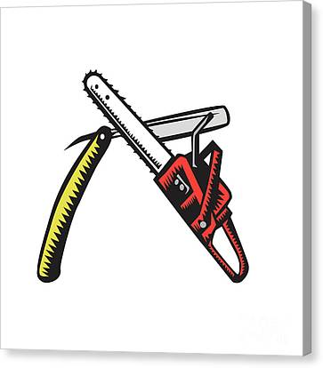 Chainsaw Straight Razor Crossed Woodcut Canvas Print by Aloysius Patrimonio