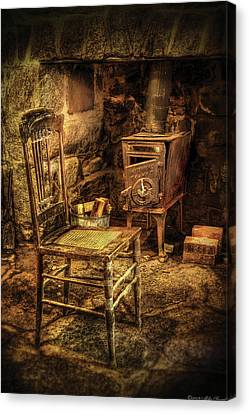 Chair - The Chair And The Stove Canvas Print by Mike Savad