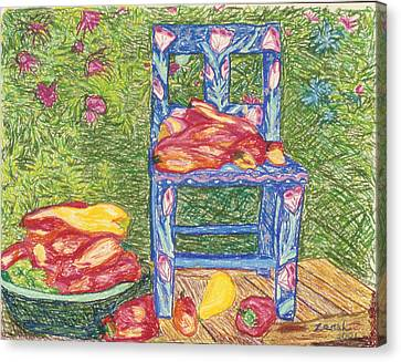 Blue Chair With Peppers Canvas Print by Lorin Zerah