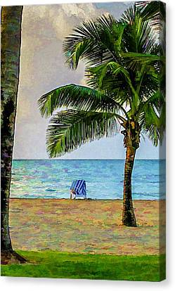 Chair On The Beach Canvas Print by Lisa Lemmons-Powers