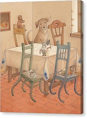 Kitchen Chair Canvas Print - Chair Race by Kestutis Kasparavicius