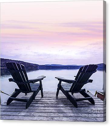The White House Canvas Print - Chairs On Lake Dock by Elena Elisseeva