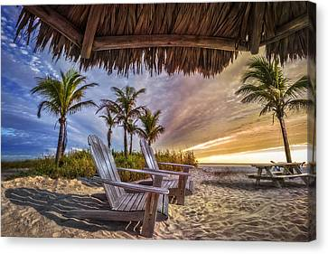 Adirondack Chairs On The Beach Canvas Print - Chairs On The Beach by Debra and Dave Vanderlaan