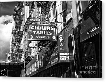 Bowery Canvas Print - Chairs Tables Stools by John Rizzuto
