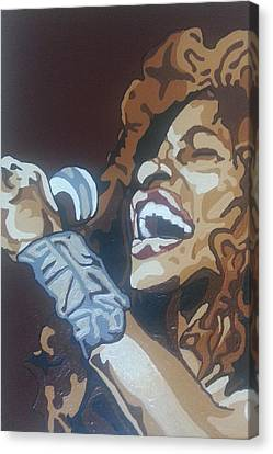 Canvas Print featuring the painting Chaka Khan by Rachel Natalie Rawlins