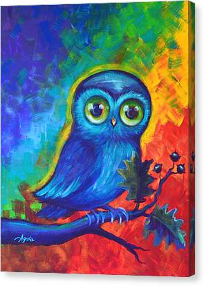 Canvas Print featuring the painting Chakra Abstract With Owl by Agata Lindquist