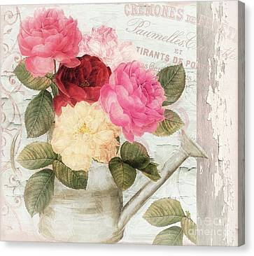 Chalet D'ete Roses Canvas Print by Mindy Sommers