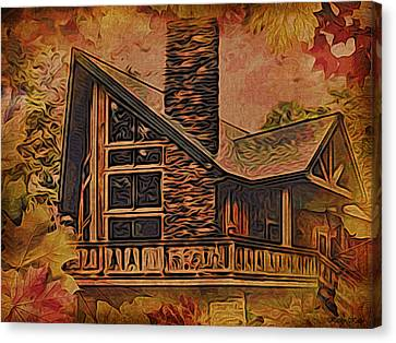 Canvas Print featuring the digital art Chalet In Autumn by Kathy Kelly