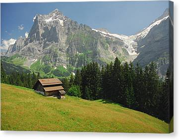 Chalet In Mountain Pasture With Mount Canvas Print by Anne Keiser
