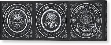 Chalkboard French Cheese Labels Canvas Print by Debbie DeWitt