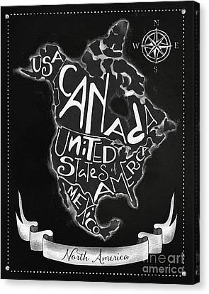Chalkboard Map Of North America Canvas Print by Tina Lavoie