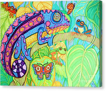 Chamelion And Rainforest Frogs Canvas Print by Nick Gustafson