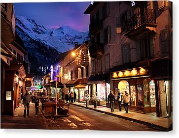 Chamonix Town In The Shadow Of Mont Blanc In The French Alps Canvas Print by Pierre Leclerc Photography