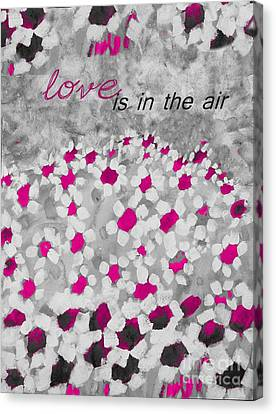 Champs De Marguerites - Love Is In The Air - Pink-05b Canvas Print by Variance Collections