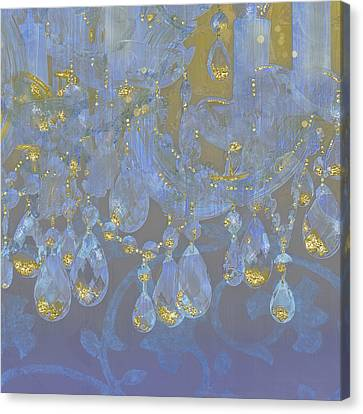 Candle Lit Canvas Print - Champagne Ballroom Closeup, Glowing Glitter Fantasy Chandelier by Tina Lavoie