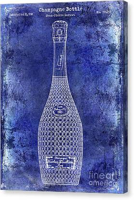 Champagne Bottle Patent Drawing Blue Canvas Print by Jon Neidert