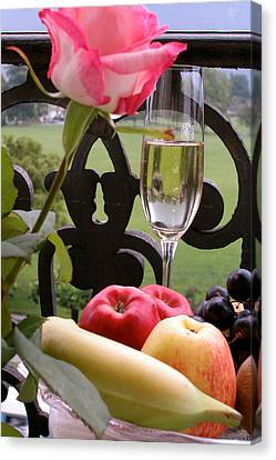 Canvas Print featuring the photograph Champagne On The Balcony by Carl Purcell