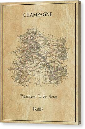 Tasting Canvas Print - Champagne Region Of France Map  1852 by Daniel Hagerman
