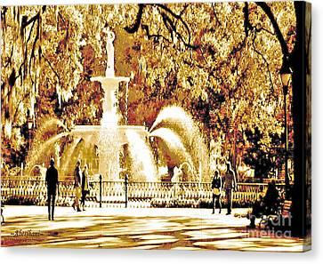 Champagne Twilight Forsyth Park Fountain In Savannah Georgia Usa  Canvas Print