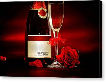 Champagne With Red Roses And Petals Canvas Print