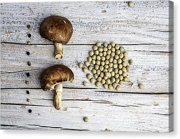 Champignons, Peas And Pepper Canvas Print by Nailia Schwarz