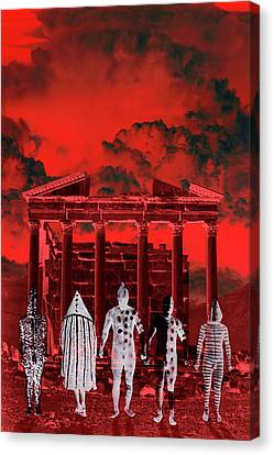 Chance Encounter In The City Of The Dead Canvas Print by Mark Myers