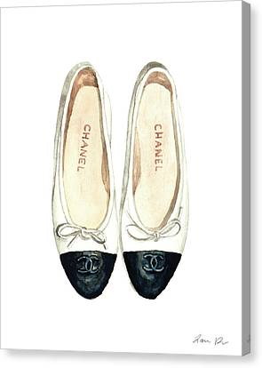 Chanel Ballet Flats Classic Watercolor Fashion Illustration Coco Quotes Vintage Paris Black White Canvas Print