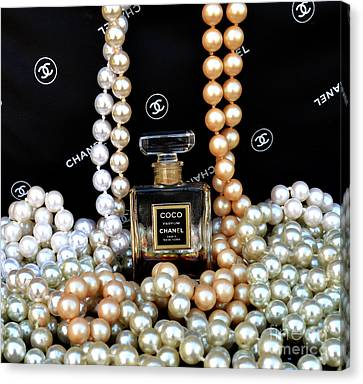 Chanel Coco With Pearls Canvas Print by To-Tam Gerwe