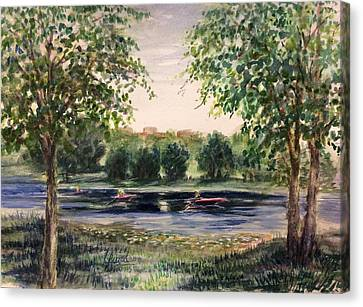 Channel At The Lake Of Isle - Minneapolis  Canvas Print by Laila Awad Jamaleldin