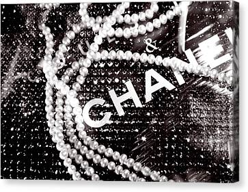 White Pearl Canvas Print - Chanel by LisaEryn