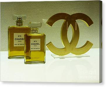 Chanel No 5 With Cc Logo Canvas Print by To-Tam Gerwe