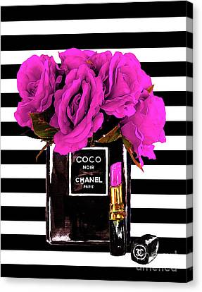 Pink Lipstick Canvas Print - Chanel Noir Perfume With Flowers by Del Art
