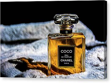 Chanel Vintage Perfume Bottle Canvas Print by Renee Anderson