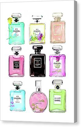 Flower Art Canvas Print - Chanel Perfume Set 9er by Del Art
