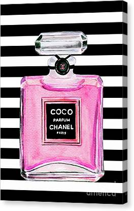 Rosa Canvas Print - Chanel Pink Perfume 1 by Del Art