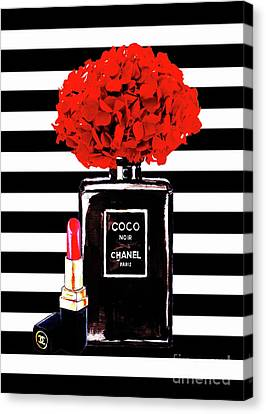 Red Flowers Canvas Print - Chanel Poster Chanel Print Chanel Perfume Print Chanel With Red Hydragenia 3 by Del Art