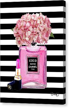 Pink Lipstick Canvas Print - Chanel Poster Pink Perfume Hydrangea Print by Del Art
