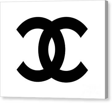 Chanel Symbol White-black Canvas Print by Edit Voros