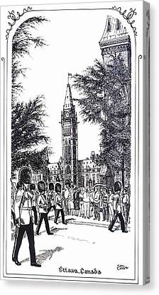 Changing Of The Guard Ottawa 1995 Canvas Print by John Cullen