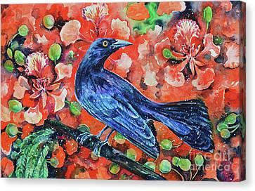 Chango On The Flamboyant Tree Canvas Print by Zaira Dzhaubaeva