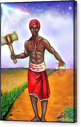 Orishas Canvas Print - Chango -the Santeria Warrior by Carmen Cordova