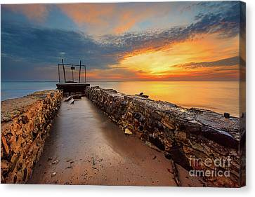 Channeling The Sunrise Canvas Print by Andrew Slater