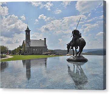 Chapel And Infinity Pool Canvas Print by Julie Grace