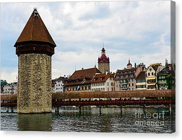 Chapel Bridge - Lucerne Canvas Print by Anna Serebryanik