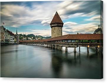 Chapel Bridge In Lucerne Canvas Print
