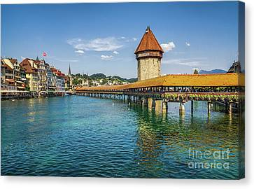 Chapel Bridge In Lucerne Canvas Print