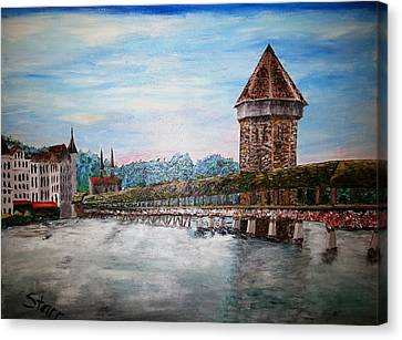 Chapel Bridge Lucerne Switzerland Canvas Print by Irving Starr